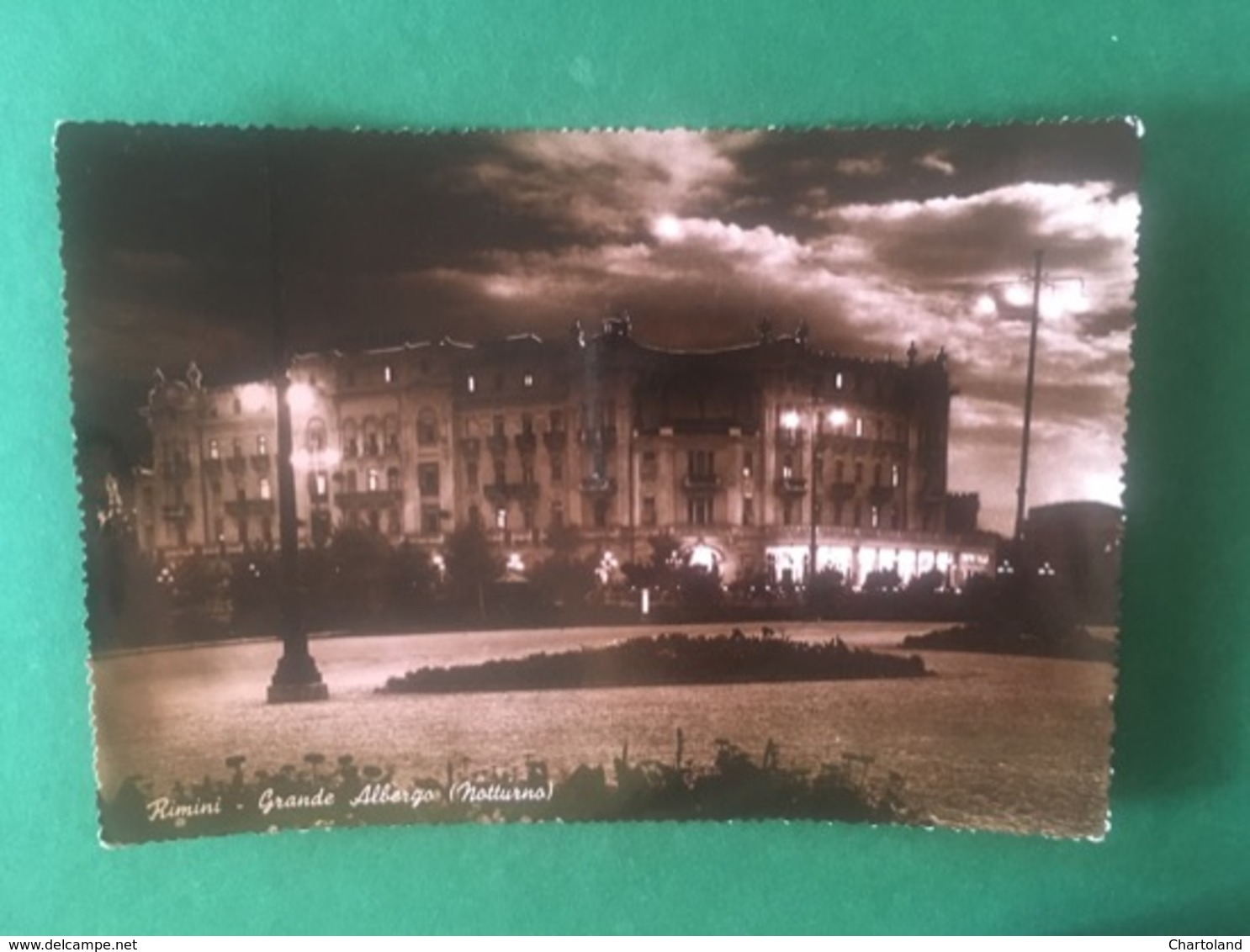 Cartolina Rimini - Grande Albergo - Notturno - 1950 - Rimini