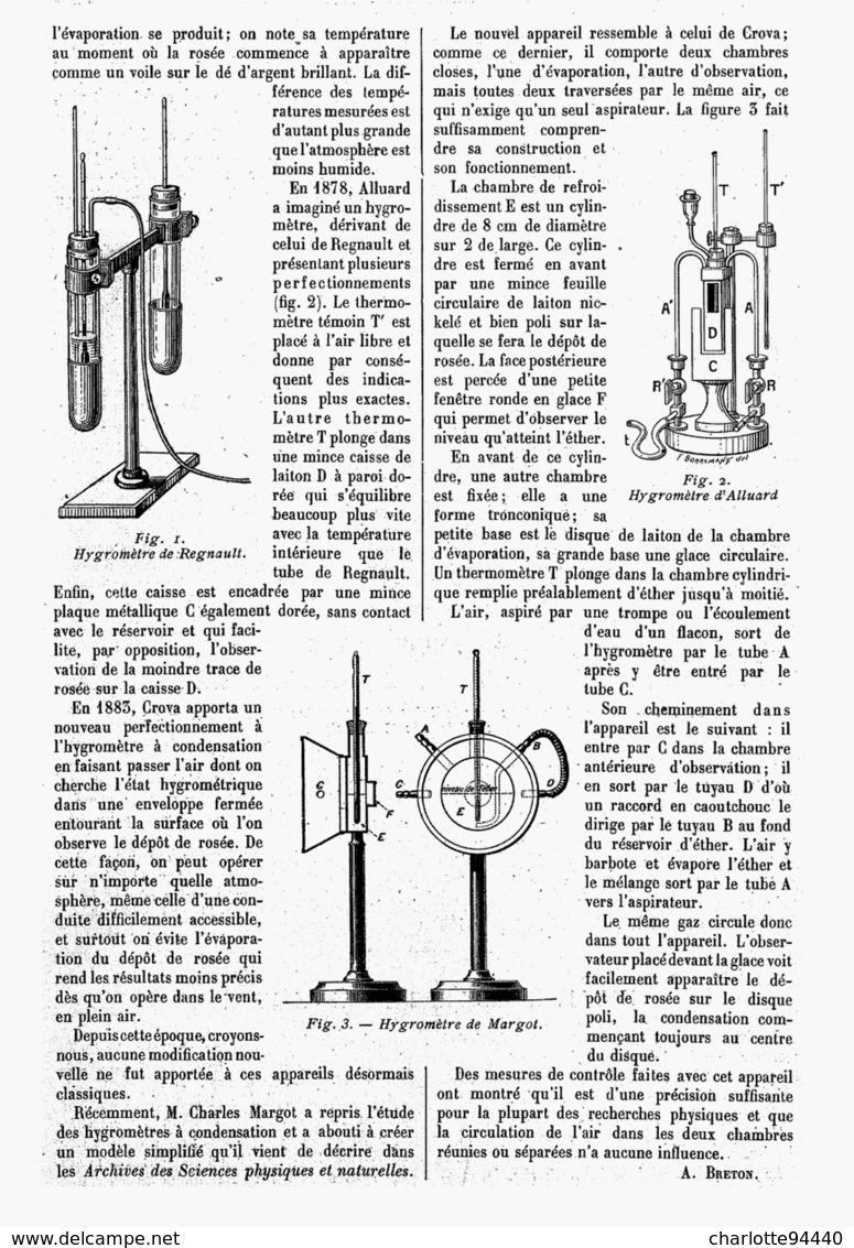 NOUVEL HYGROMETRE à CONDENSATION  1916 - Technical
