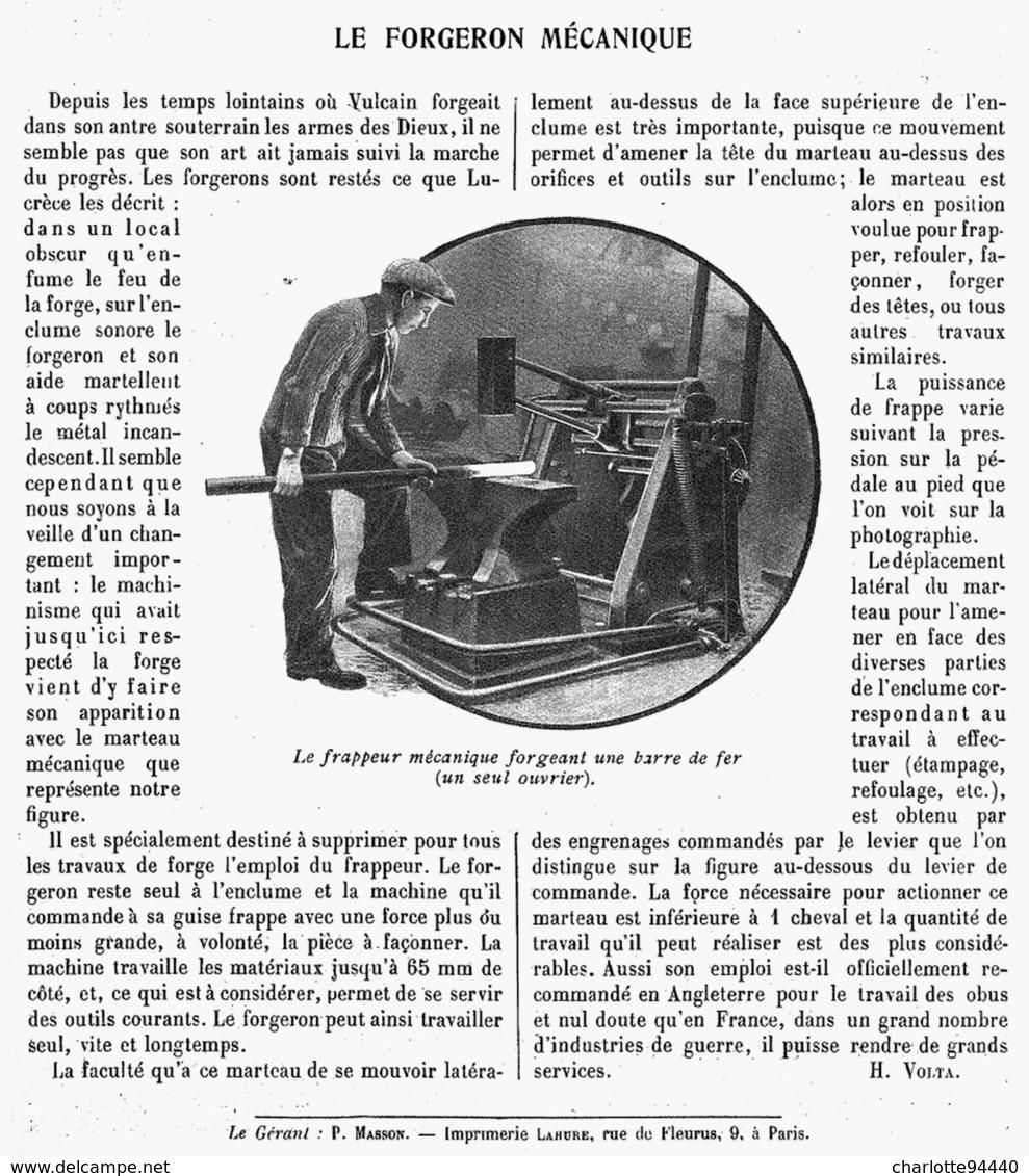LE FORGERON MECANIQUE  1916 - Technical