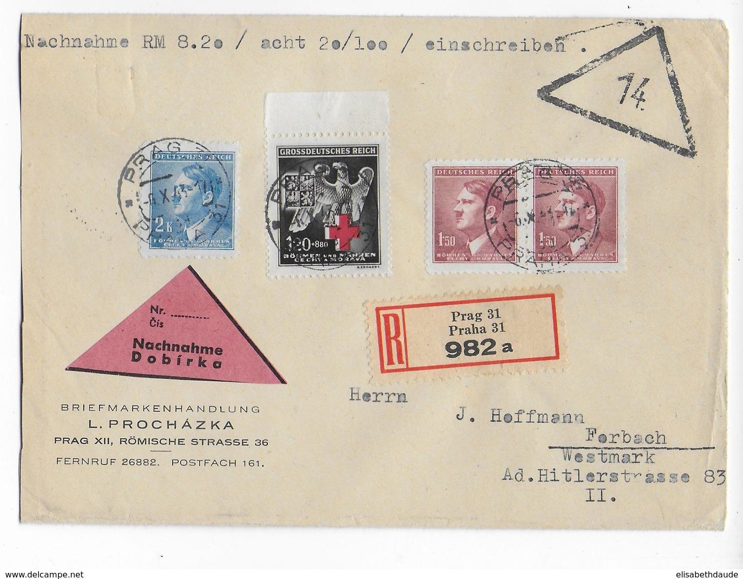 BÖHMEN Und MÄHREN - 1943 - ENVELOPPE RECOMMANDEE CONTRE-REMBOURSEMENT De PRAGUE => FORBACH (MOSELLE) - Lettres & Documents