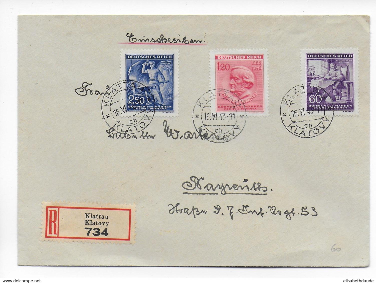 BÖHMEN Und MÄHREN - 1943 - ENVELOPPE RECOMMANDEE De KLATOVY => BAYREUTH - WAGNER - MUSIQUE - Bohême & Moravie