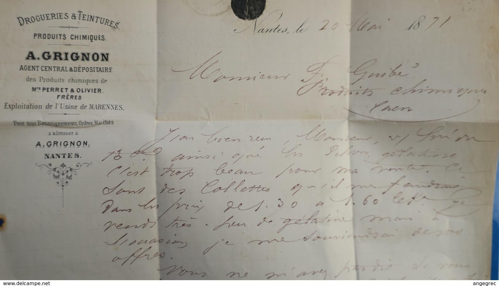 Bordeaux 20 Ct Bleu Sur Lettre De Nantes  1871 Pour Caen  Variété Cheveux Reliés Au Cadre Voir Photos - Marcophilie (Lettres)