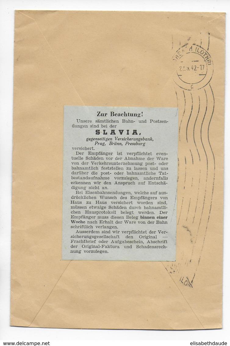 BÖHMEN Und M. - 1942 - ENVELOPPE RECO CONTRE-REMBOURSEMENT De PRAGUE Avec ASSURANCE SLAVIA AU DOS => FORBACH (MOSELLE) - Bohême & Moravie