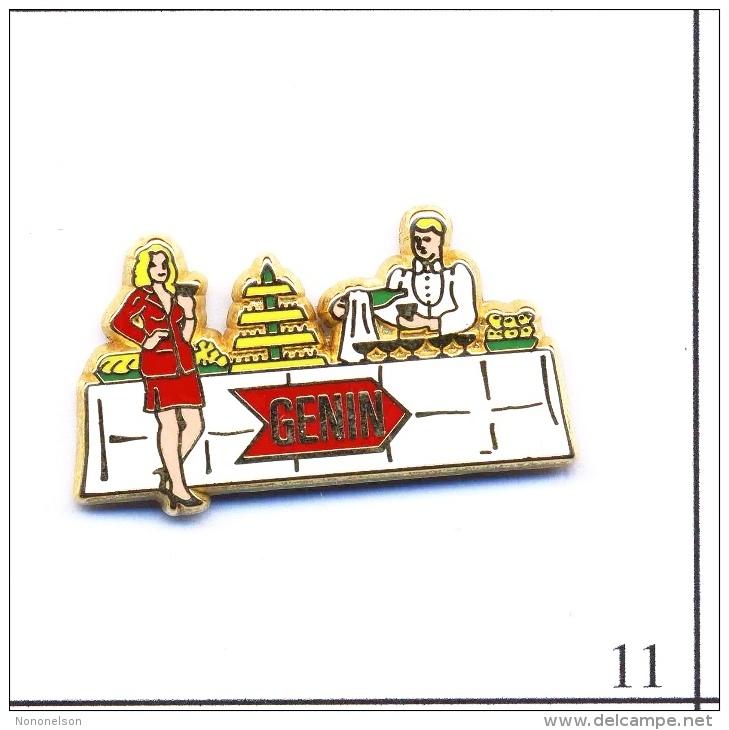 Pin's Gastronomie - Génin / Traiteur - Tenue Rouge. Est. Arthus Bertrand Paris. Zamac. T405-11 - Food