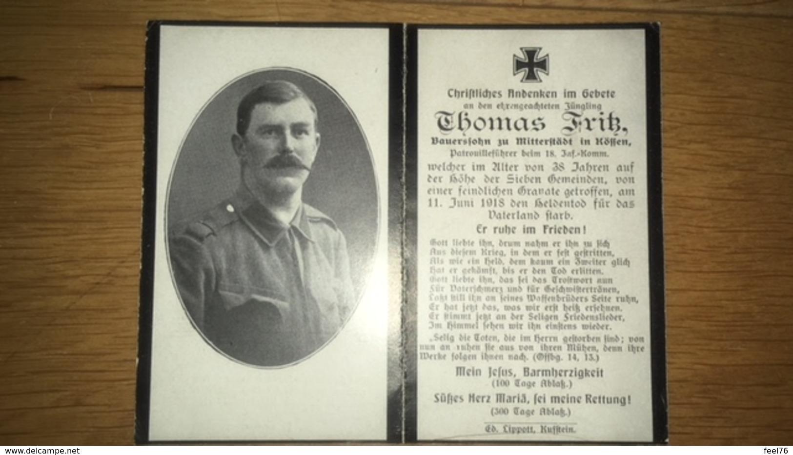 Sterbebild Wk1 Ww1 Bidprentje Avis Décès Deathcard KUK 18. Inf. Komm. Patrouilleführer Höhe Sieben Gemeinden Mitterstädt - 1914-18