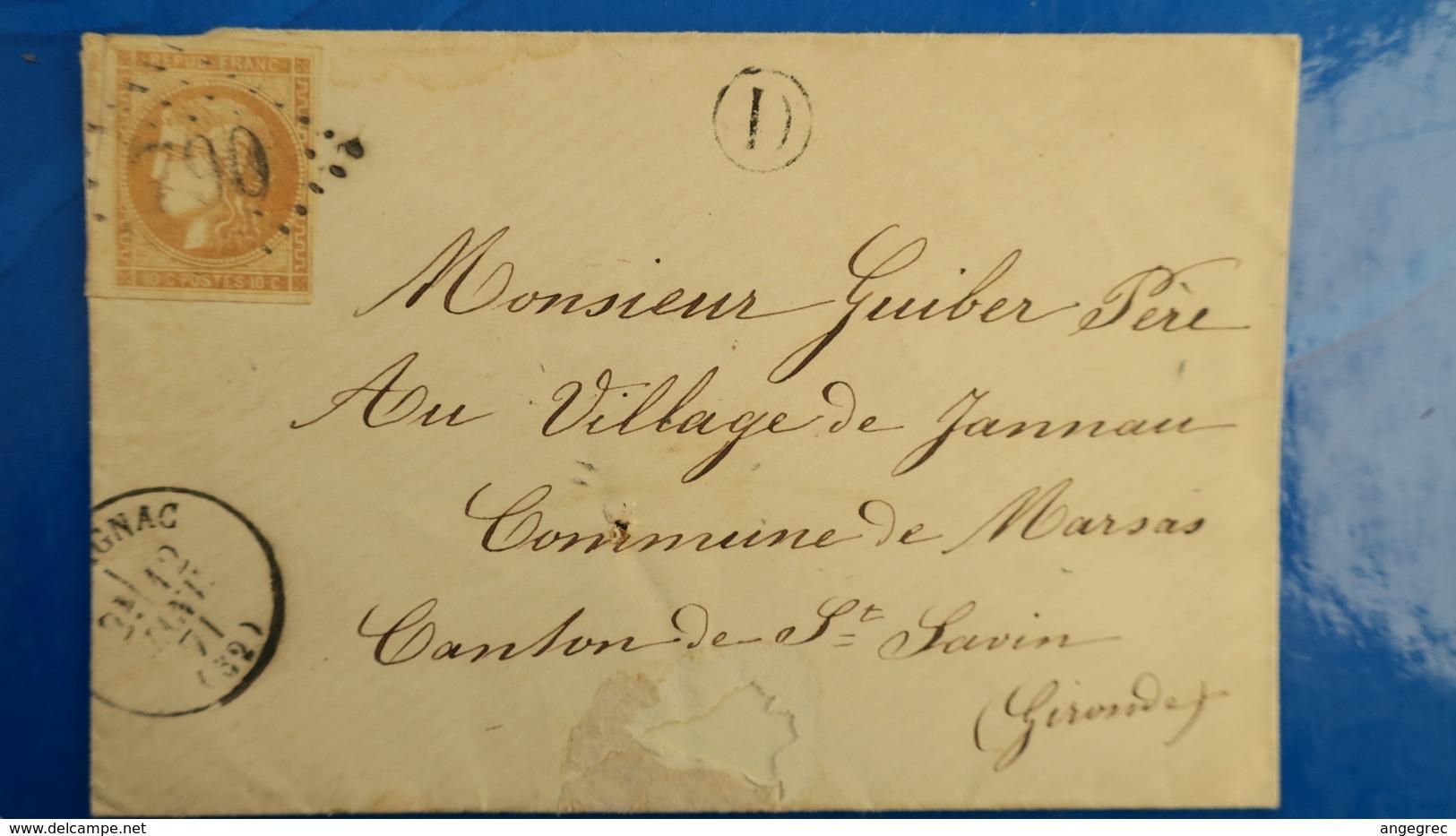Bordeaux N° 43 Sur Lettre De Cavignac Gironde ( Facteur D ) Pour Marsas  12 Janvier 1871 Voir Photos - Postmark Collection (Covers)