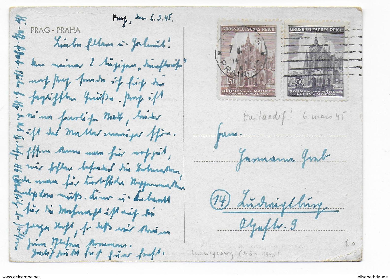 BÖHMEN Und MÄHREN - MARS 1945 ! - CARTE De PRAGUE => LUDWIGSBURG - Bohême & Moravie