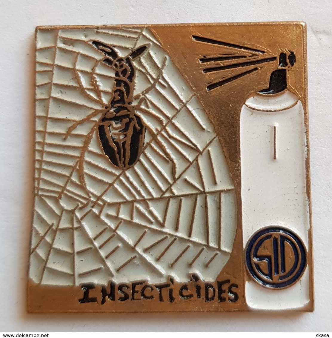 Grand Pin's Insecticides SID, Araignée Spider, Métal émaillé - Food