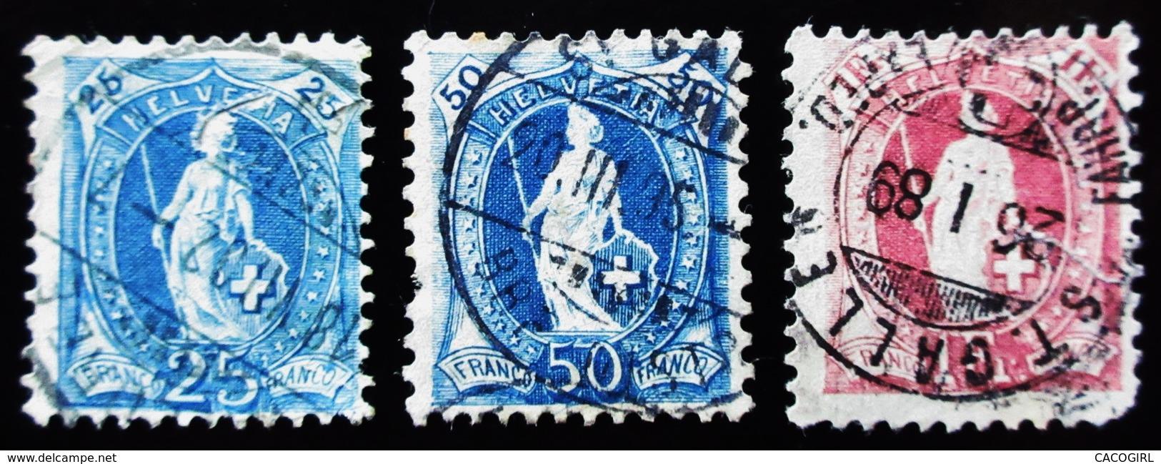 1907 Suisse 3 Timbres  Standing Helvetia Oblitérés - Oblitérés