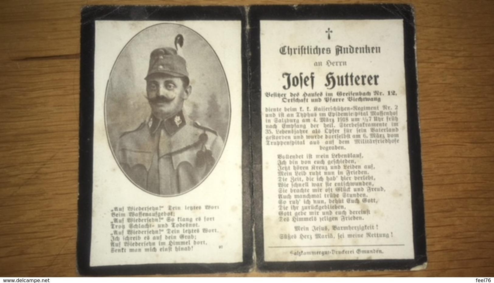 Sterbebild Wk1 Ww1 Bidprentje Avis Décès Deathcard KUK Kaiserschützen Regt. 2Typhus Epidemiespital Massenhof Salzburg - 1914-18
