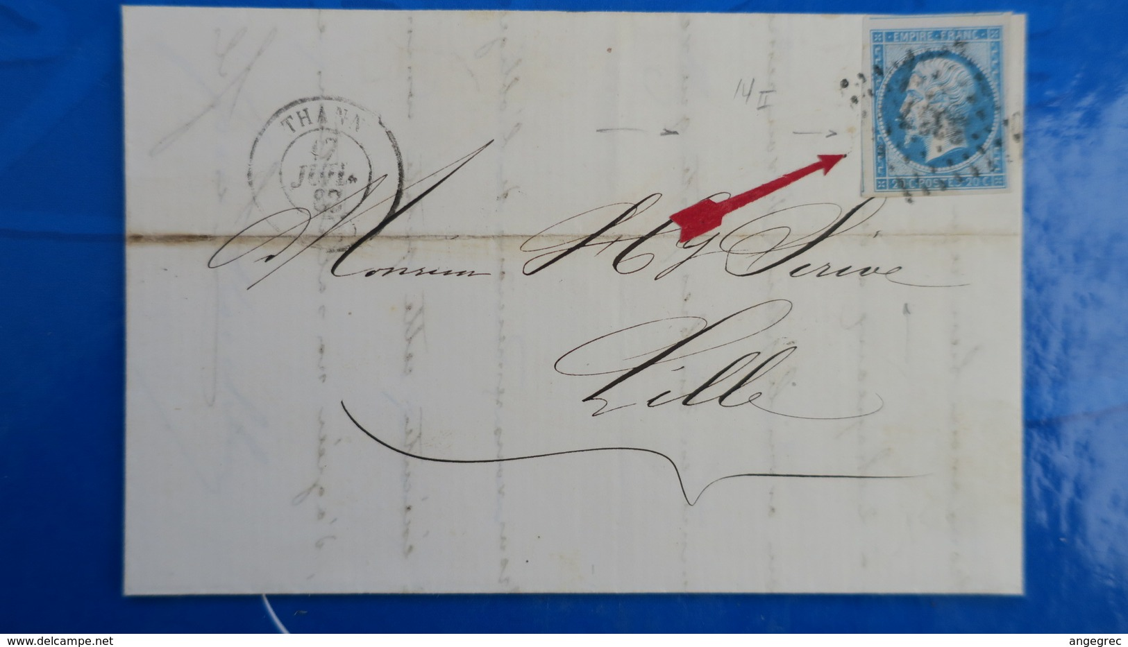 Variété Petite Cigarette A La Bouche Napoleon N° 14 Sur Lettre De Thann Pour Lille 1862 - Marcophilie (Lettres)