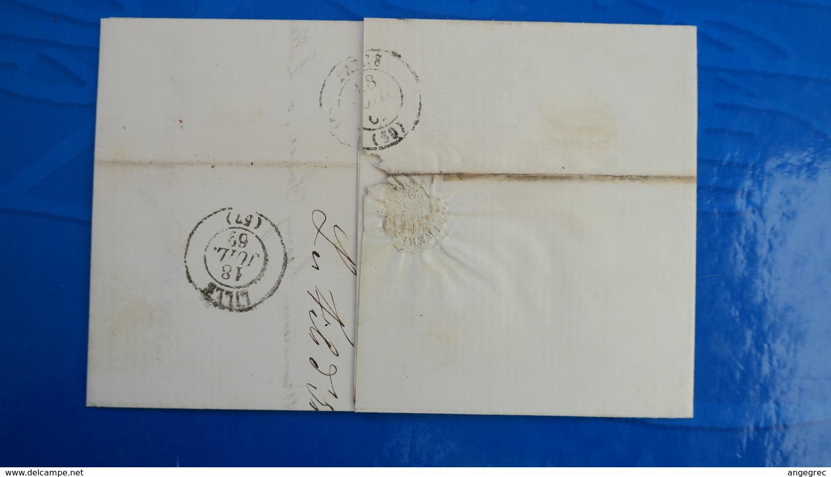 Variété Petite Cigarette A La Bouche Napoleon N° 14 Sur Lettre De Thann Pour Lille 1862 - Postmark Collection (Covers)