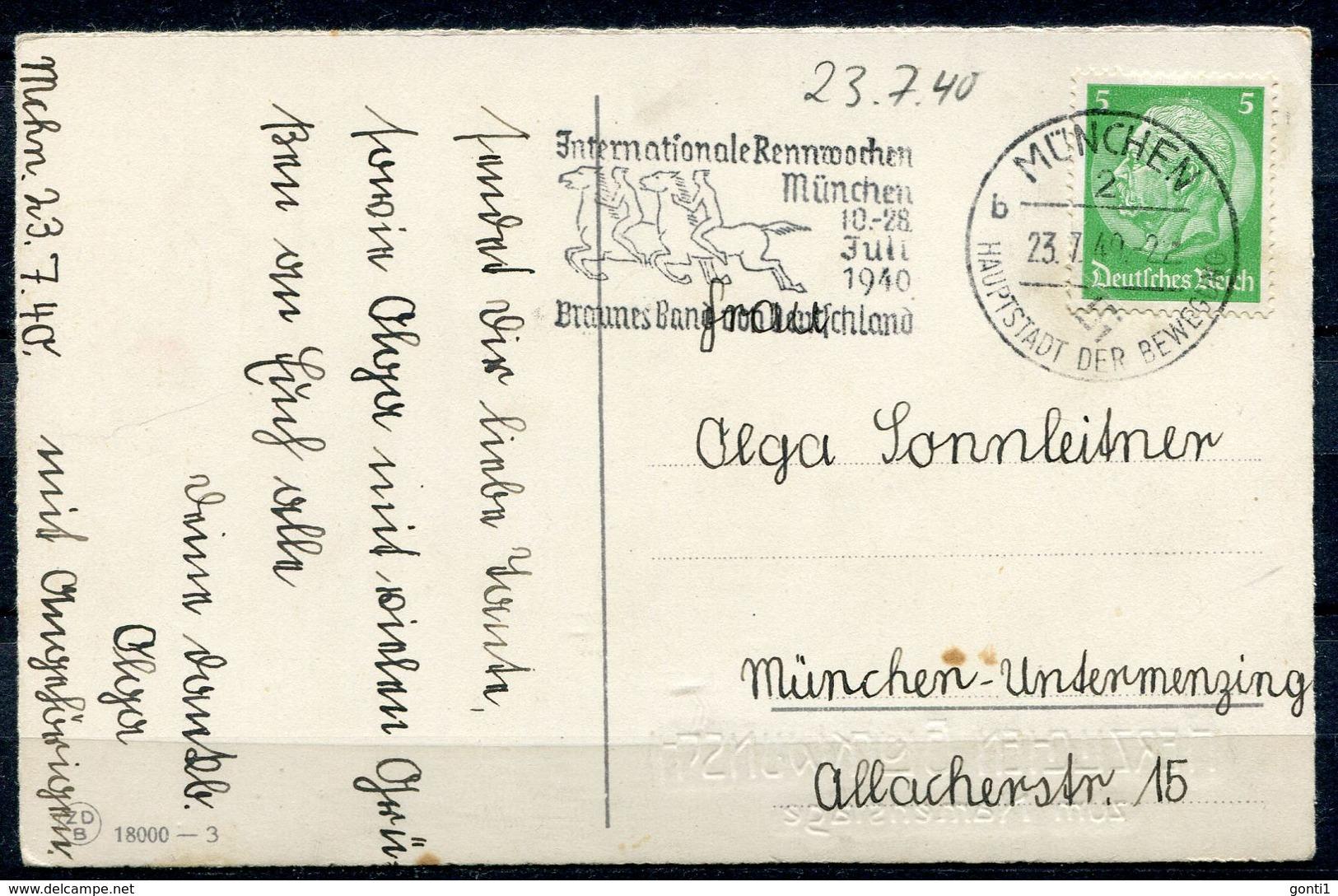 """German Empires 1940 Color Anlaßkarte Mit Mi.Nr. 515 U.Pferdesport MWST""""München-Internationale Rennwochen,br.Band """" 1 AK - Pferde"""