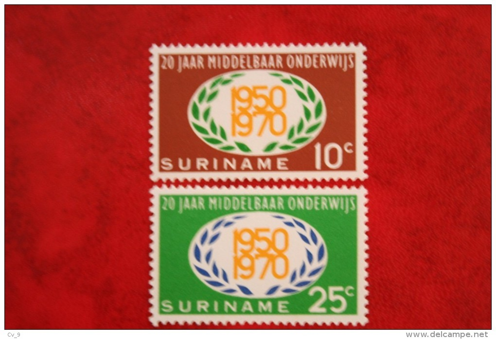 20 Jaar Middelbaar Onderwijs; NVPH Nr: 534-535 Mi 575-576 ; 1970 MNH / Postfris SURINAME / SURINAM - Surinam ... - 1975