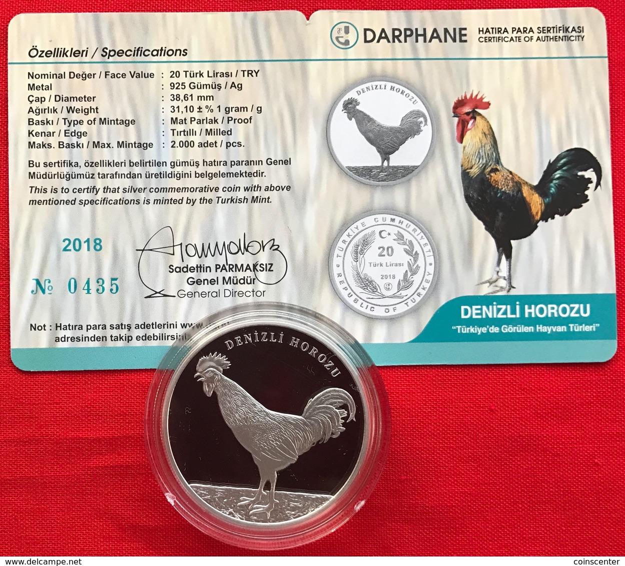 "Turkey 20 Lira 2018 ""Denizli Horozu - Rooster"" Silver Ag PROOF - Turquie"