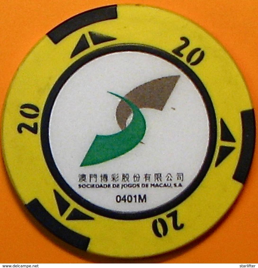 HK$20 Casino Chip. STM-Sociedade De Jogos De Macau, Macau. N40. - Casino