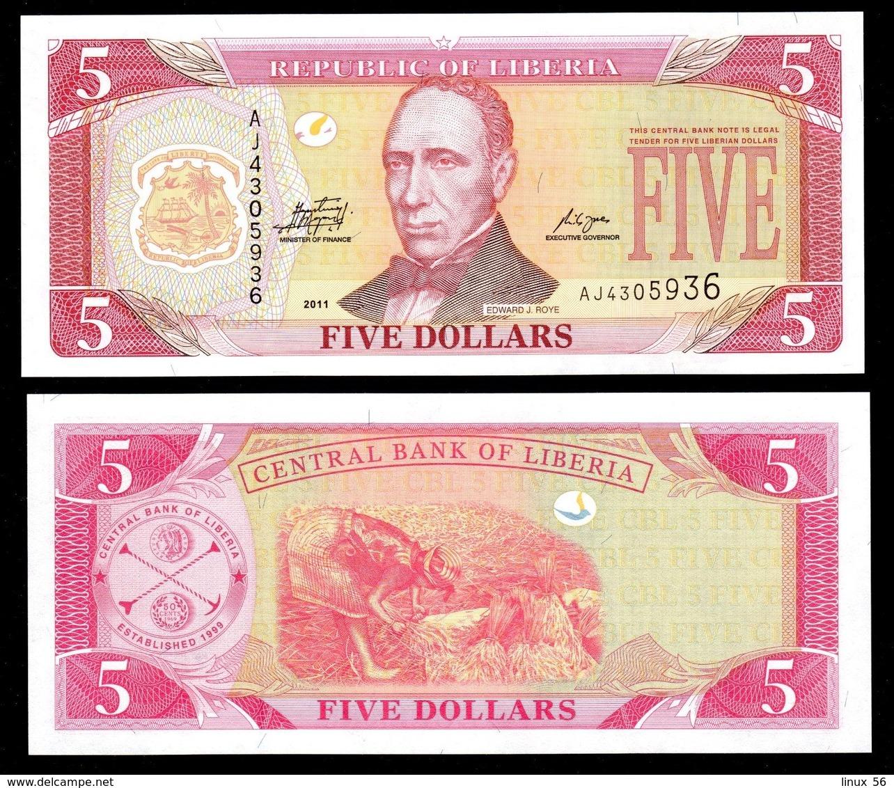 LIBERIA - 5 Dollars 2011 UNC P.26 G - Liberia