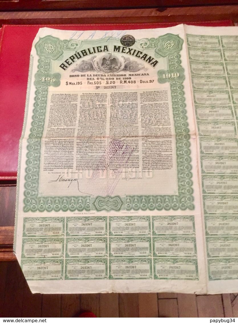 RÉPUBLICA  MEXICANA  Bon De La  Deuda  Exterior  Mexicana  Del 4% Oro De 1910 - Actions & Titres