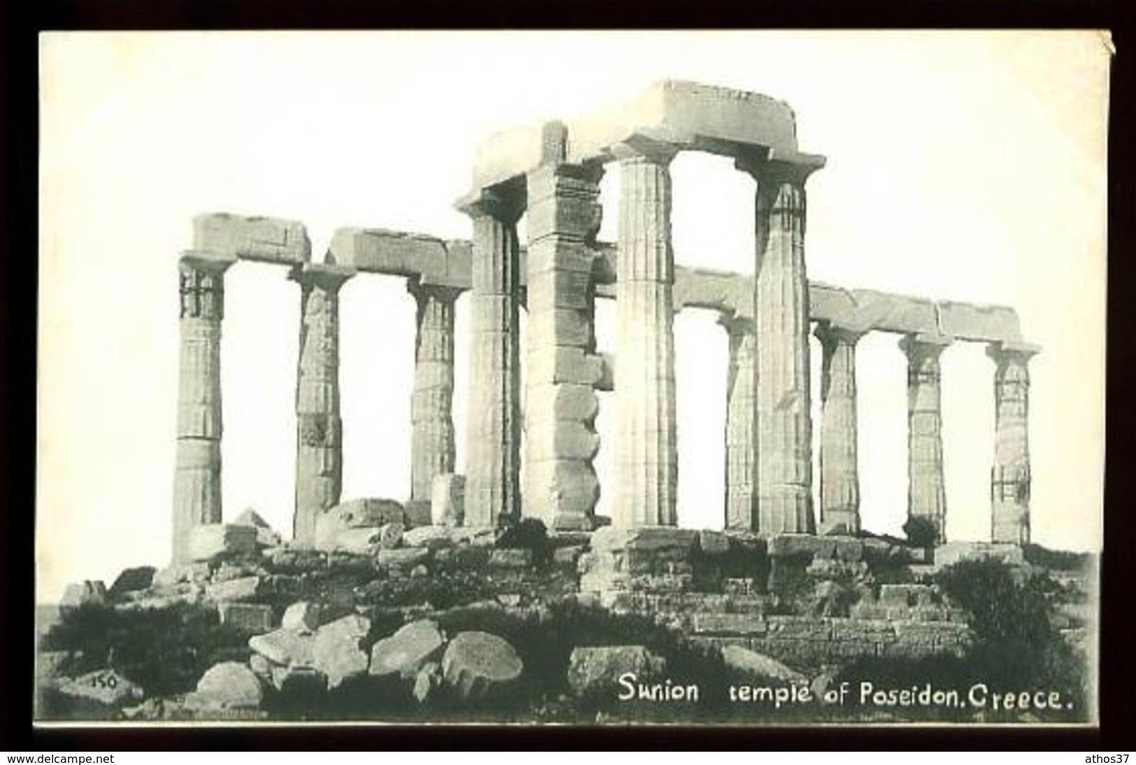 SUNION, Temple Of Poseidon - Carte-Photo Avec Légende écrite à La Main - (Beau Plan) - Greece