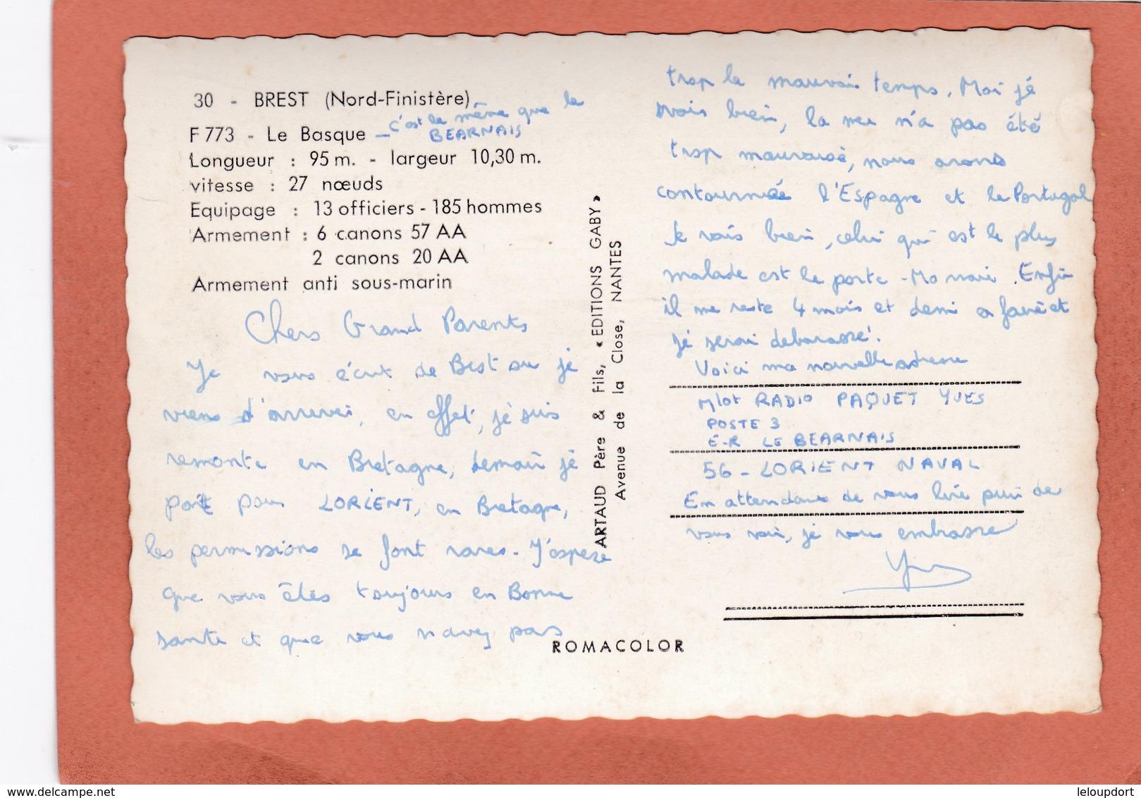 BREST  LE BASQUE L 95 M L 10,30 M 12 Officiers 2 Canons - Brest
