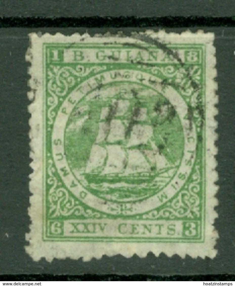 British Guiana: 1863/76   Ship   SG102   24c  Bluish Green  [Perf: 10]   Used - Guyane Britannique (...-1966)