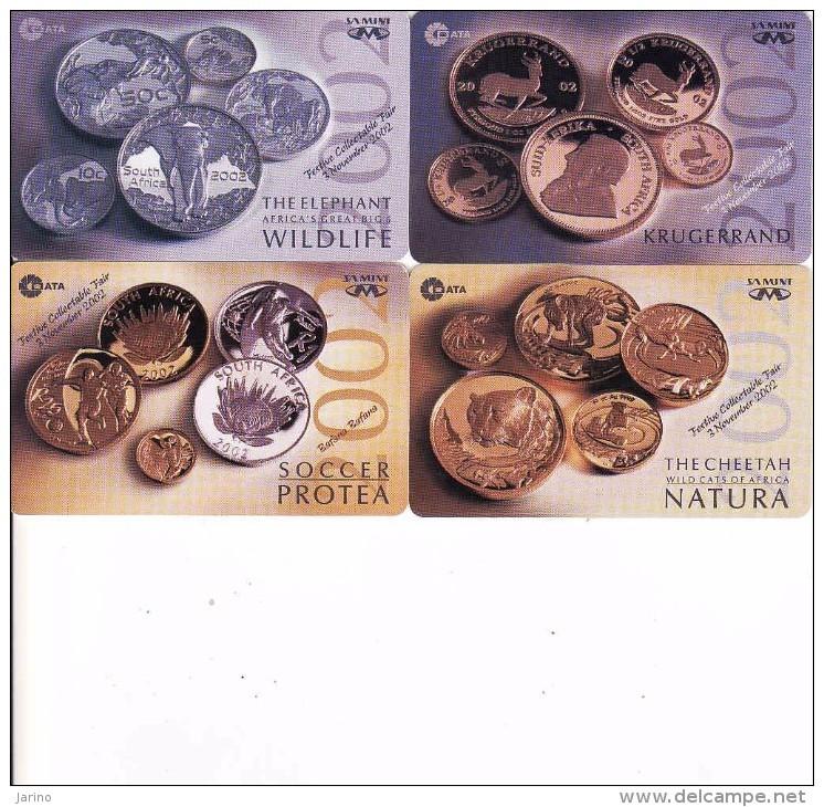 Afrique Du Sud,SOUTH AFRICA, Coins Set 2002 MTN, Krugerrand, Soccer Protea, Collectable Fair - South Africa