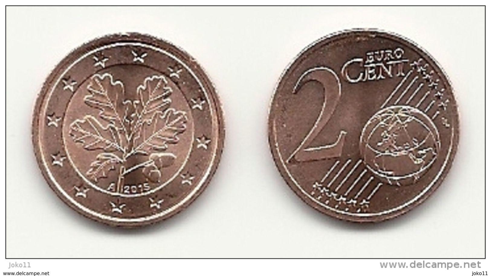 2 Cent, 2015, Prägestätte (A) Vz, Sehr Gut Erhaltene Umlaufmünze - Deutschland