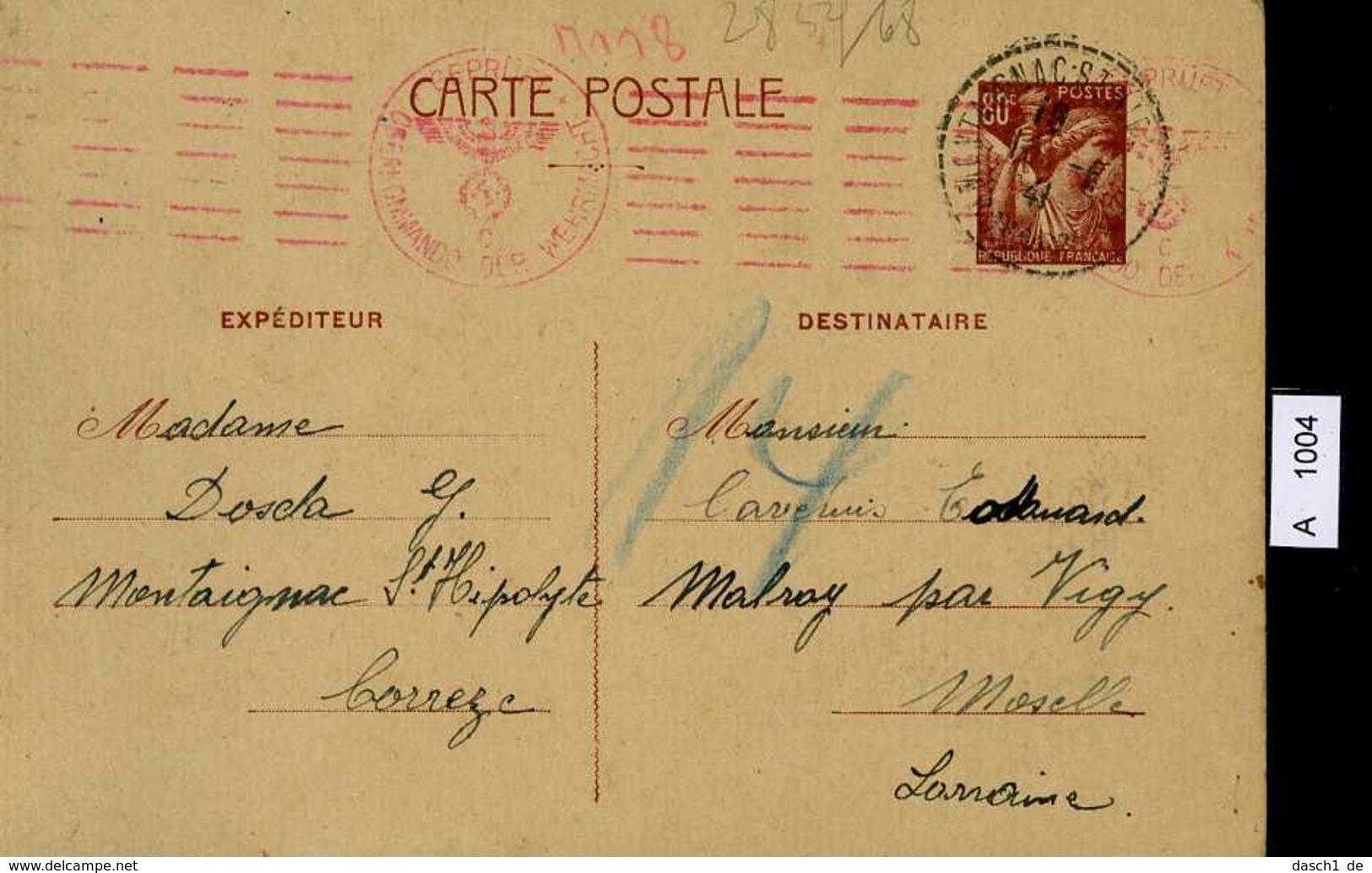 Frankreich, Postkarte Mit Zensurstempel, 1941 - Briefe U. Dokumente