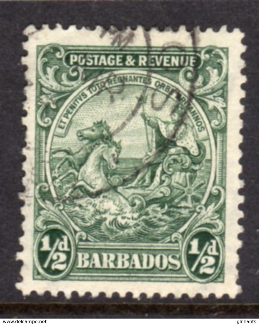 BARBADOS - 1932 HALFPENNY GREEN DEFINITIVE STAMP PERF 13.5 X 12.5 FINE USED REF C SG 230a - Barbados (...-1966)