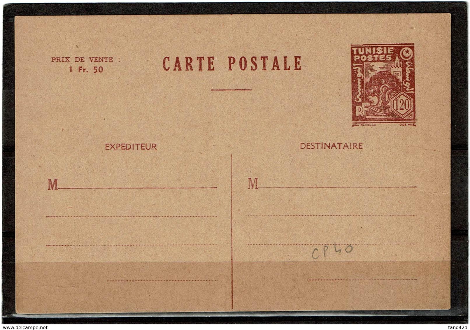 COMP2 - TUNISIE EP CP ACEP N° 40 NEUVE - Tunisie (1888-1955)