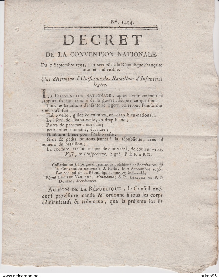 Décret De La Convention Du 7/9/1793 Qui Détermine L'uniforme Des Bataillons D'infanterie Légère - Décrets & Lois