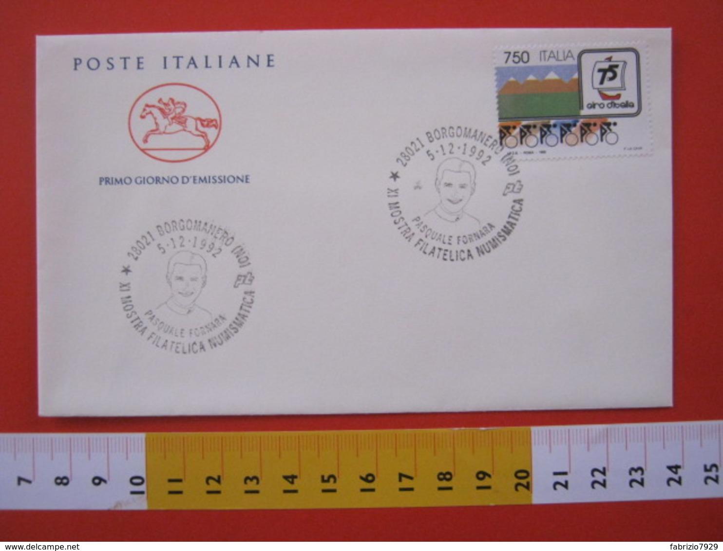 A.06 ITALIA ANNULLO - 1992 BORGOMANERO NOVARA PASQUALE FORNARA CICLISMO BICICLETTA ATLETA SPORT MOSTRA FILATELICA - Ciclismo