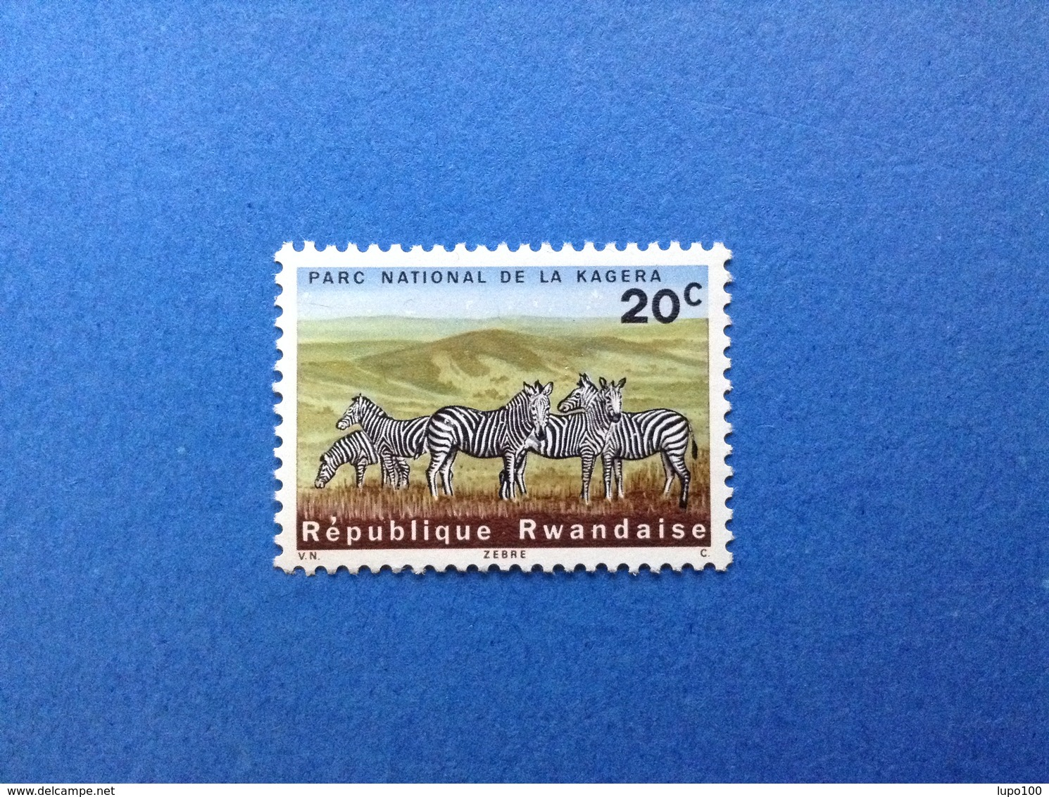 RWANDA REPUBLIQUE RWANDAISE PARCO NAZIONALE KAGERA ANIMALI FAUNA ZEBRE 20 C FRANCOBOLLO NUOVO STAMP NEW MNH** - Rwanda