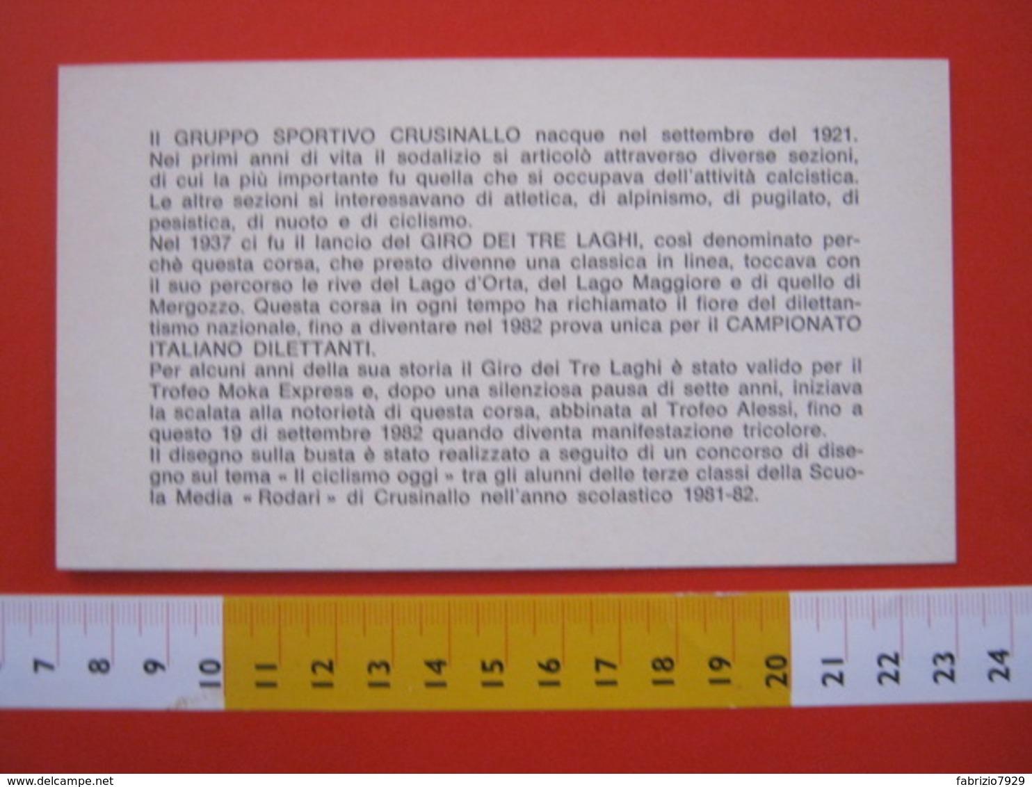 A.06 ITALIA ANNULLO - 1982 CRUSINALLO VERBANIA NOVARA CICLISMO CAMPIONATO ITALIANO DILETTANTI GIRO TRE LAGHI LAKE - Ciclismo
