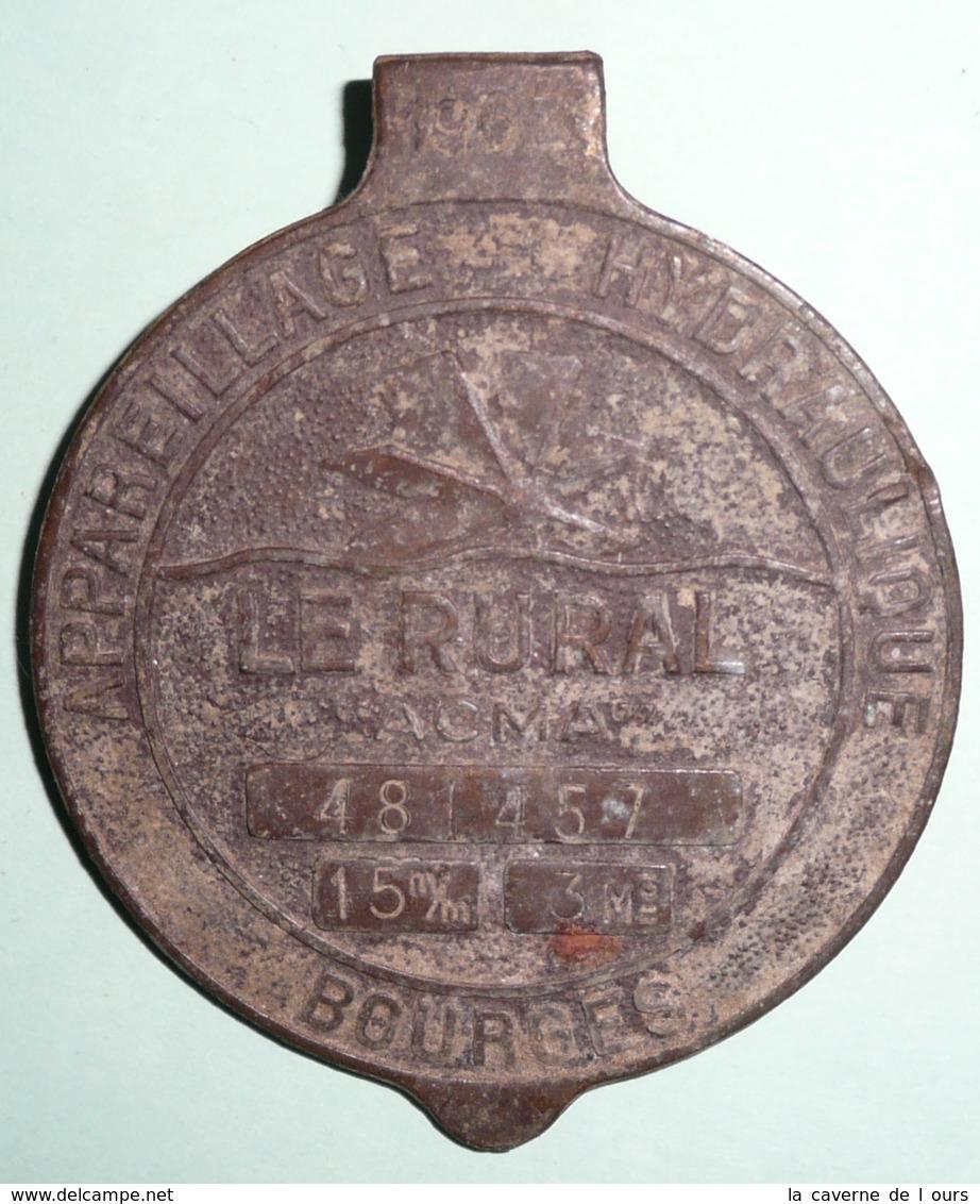Rare Ancienne 1960's, Plaque En Bronze, Couvercle De Compteur D'eau, LE RURAL, Bourges - Plaques Publicitaires