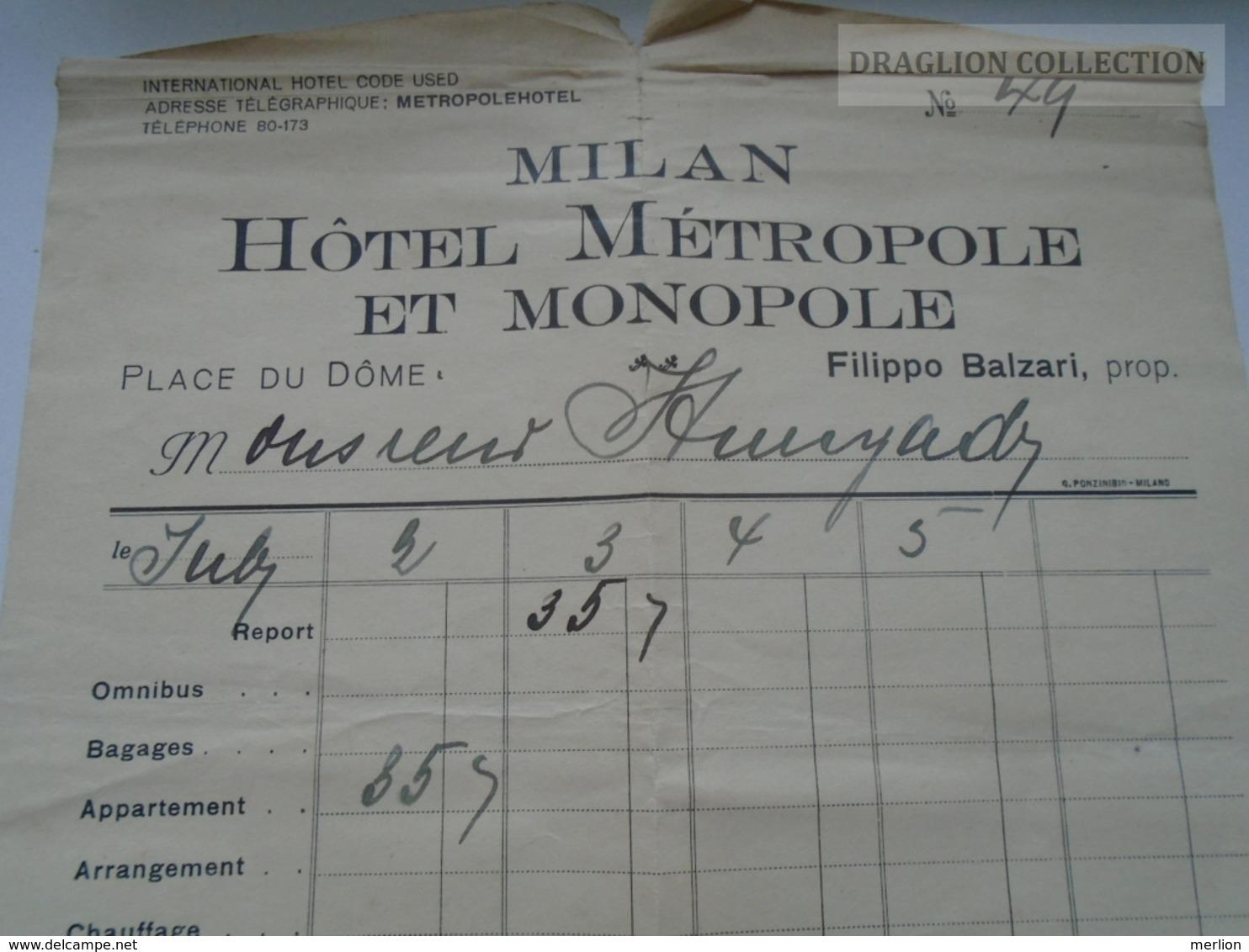ZA168.24 MILAN MIlano - Hotel Metropole Et Monopole - Filippo Balzari -  1928  Checkout Invoice VERY BAD GRADE - Italia