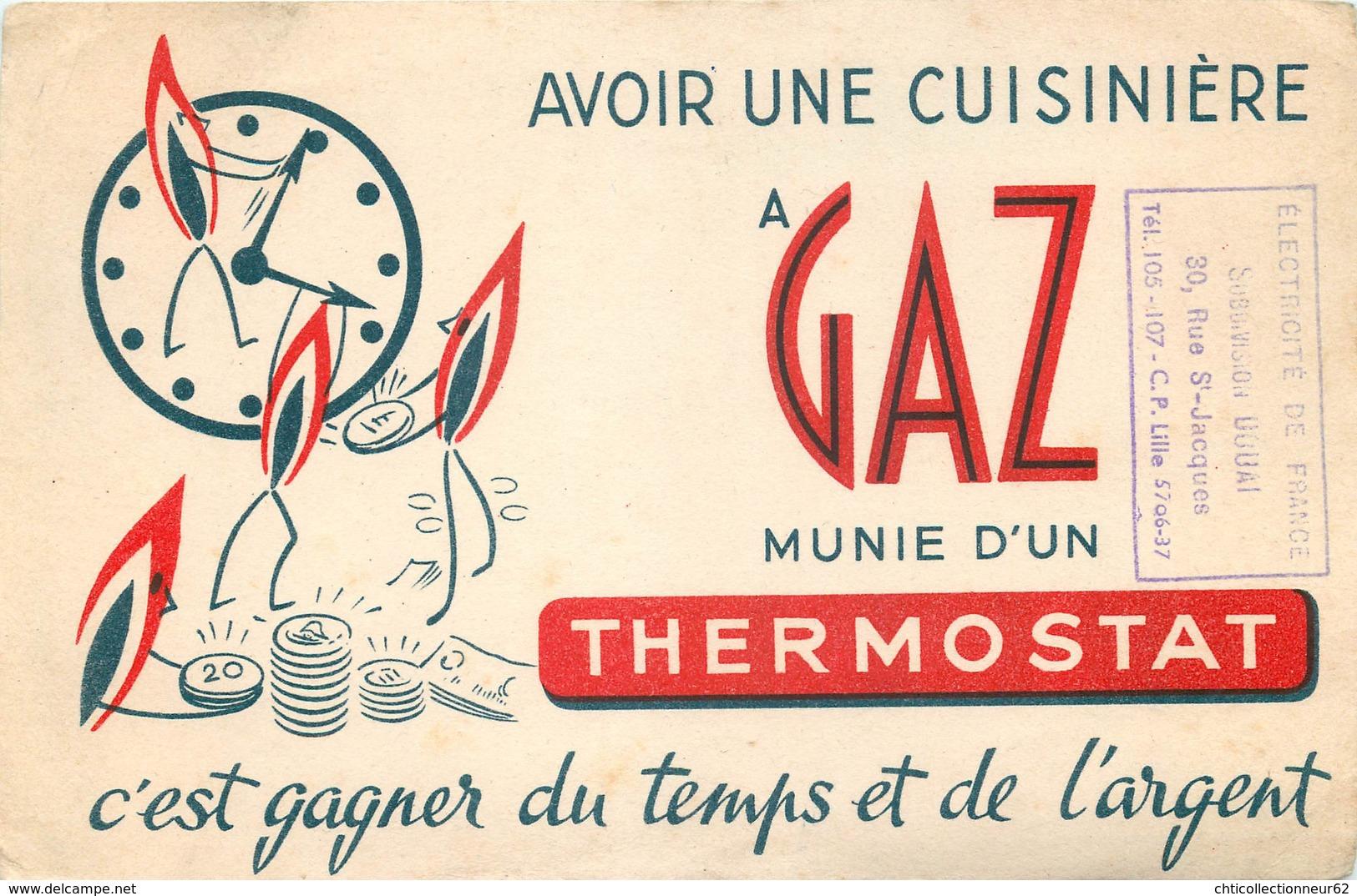 Buvard Ancien CUISINIERE A GAZ ET THERMOSTAT - DOUAI - LILLE - Electricité & Gaz