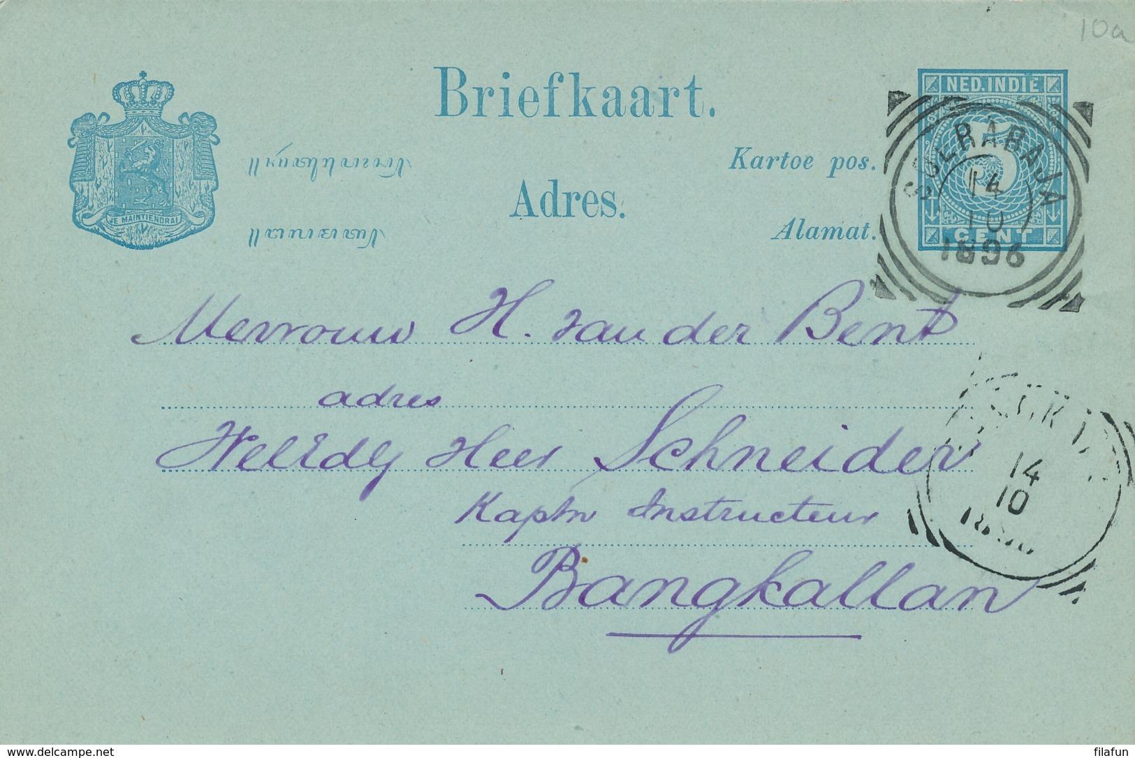 Nederlands Indië - 1896 - 5 Cent Cijfer, Briefkaart G10 Van VK Soerabaja Naar VK Bangkalan - Nederlands-Indië