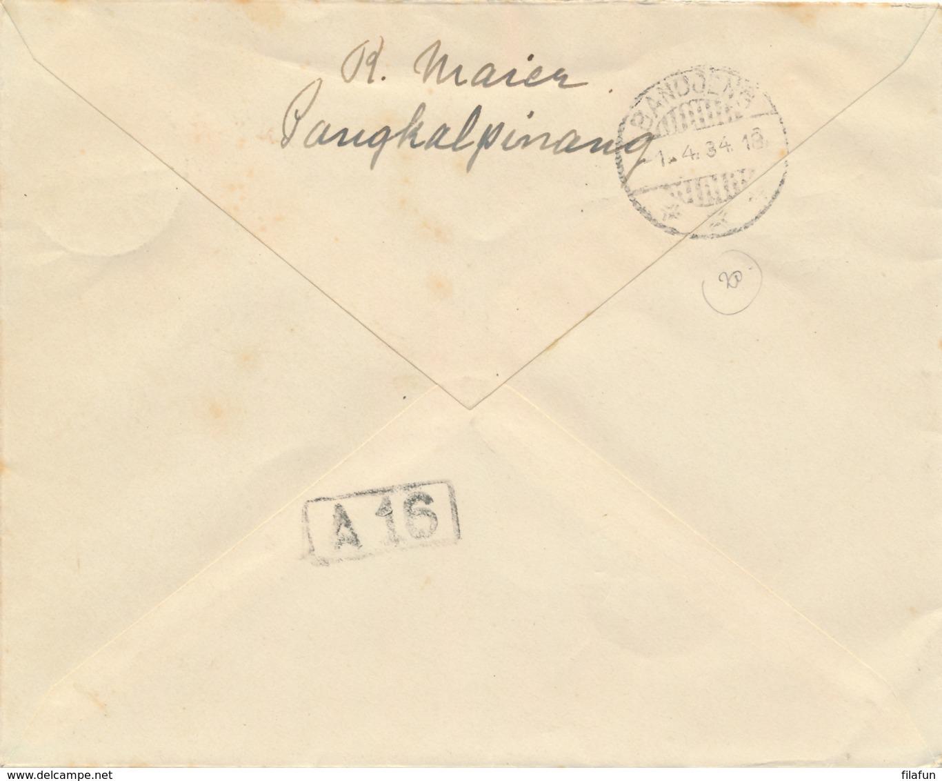 Nederlands Indië - 1934 - 12,5 Cent Luchtpostreklame, Envelop G54b Van LB PANGKALPINANG/1 Naar Bandoeng - Nederlands-Indië