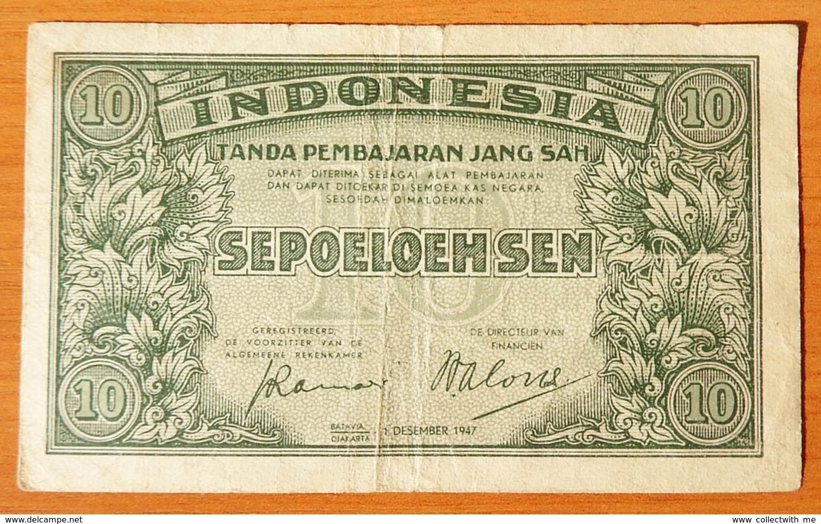 Indonesia 10 Sen 1947 F - Indonésie