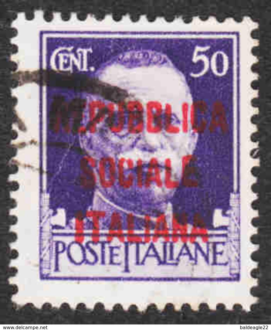 Italy - Italian Socialist Republic - Scott #3 Used - Mint/hinged