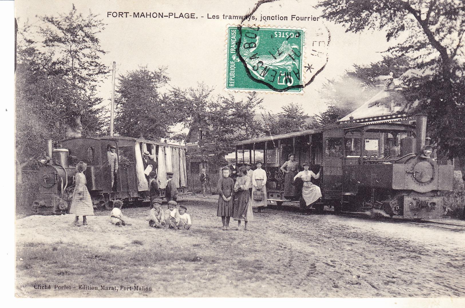 80 Fort Mahon Plage - Les Tramways, Jonction Fourrier. Gros Plan Animé. Daté 1910.. Tb état. - Fort Mahon