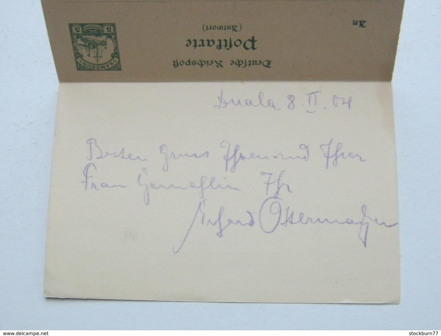 KAMERUN , 5/5 Pfg. Doppel Ganzsache  Mit Stempel  DUALA 1906, Mit Text - Kolonie: Kamerun
