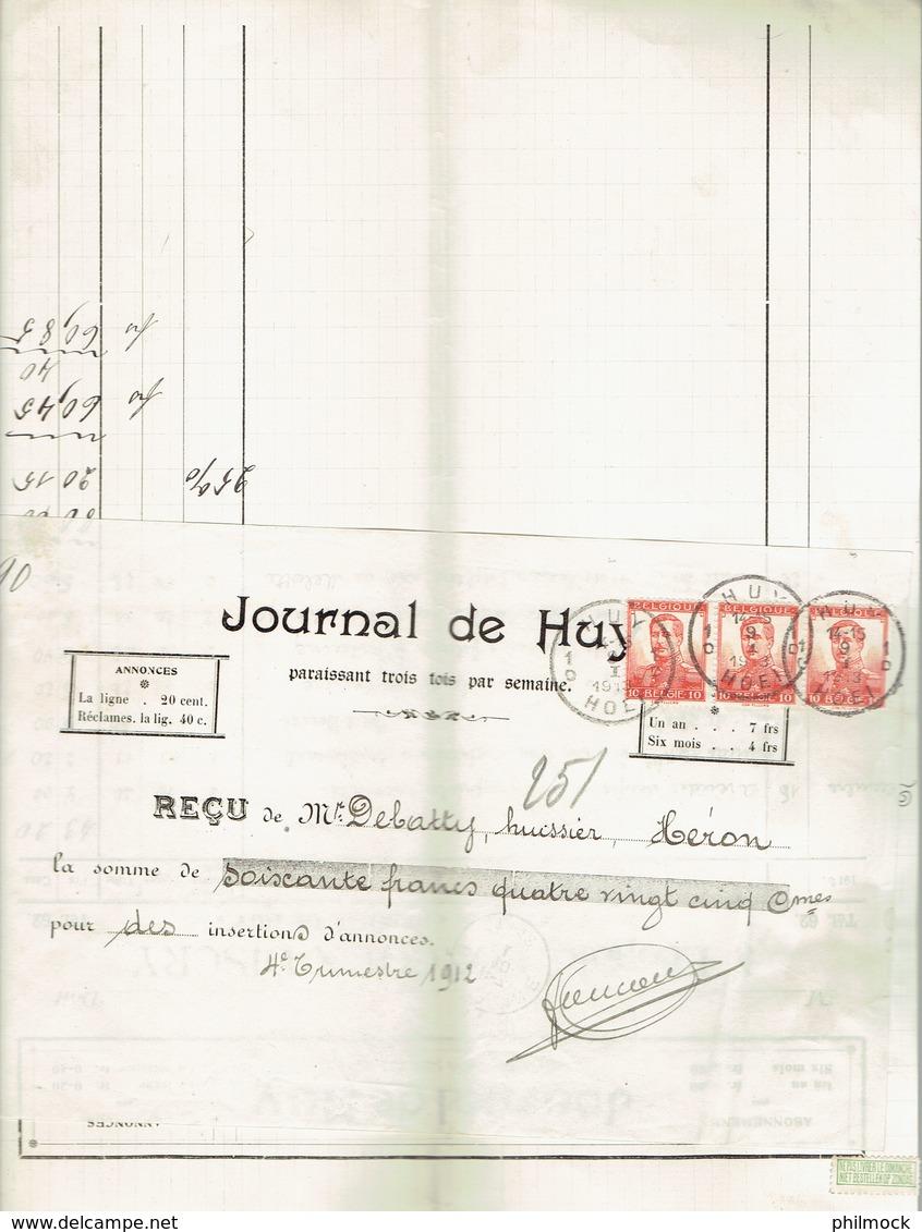 M-Facture Journal De Huy - Obli Huy 1D Hoei Le 9-I-1913 Vers Héron Sur 311x3 - Printing & Stationeries