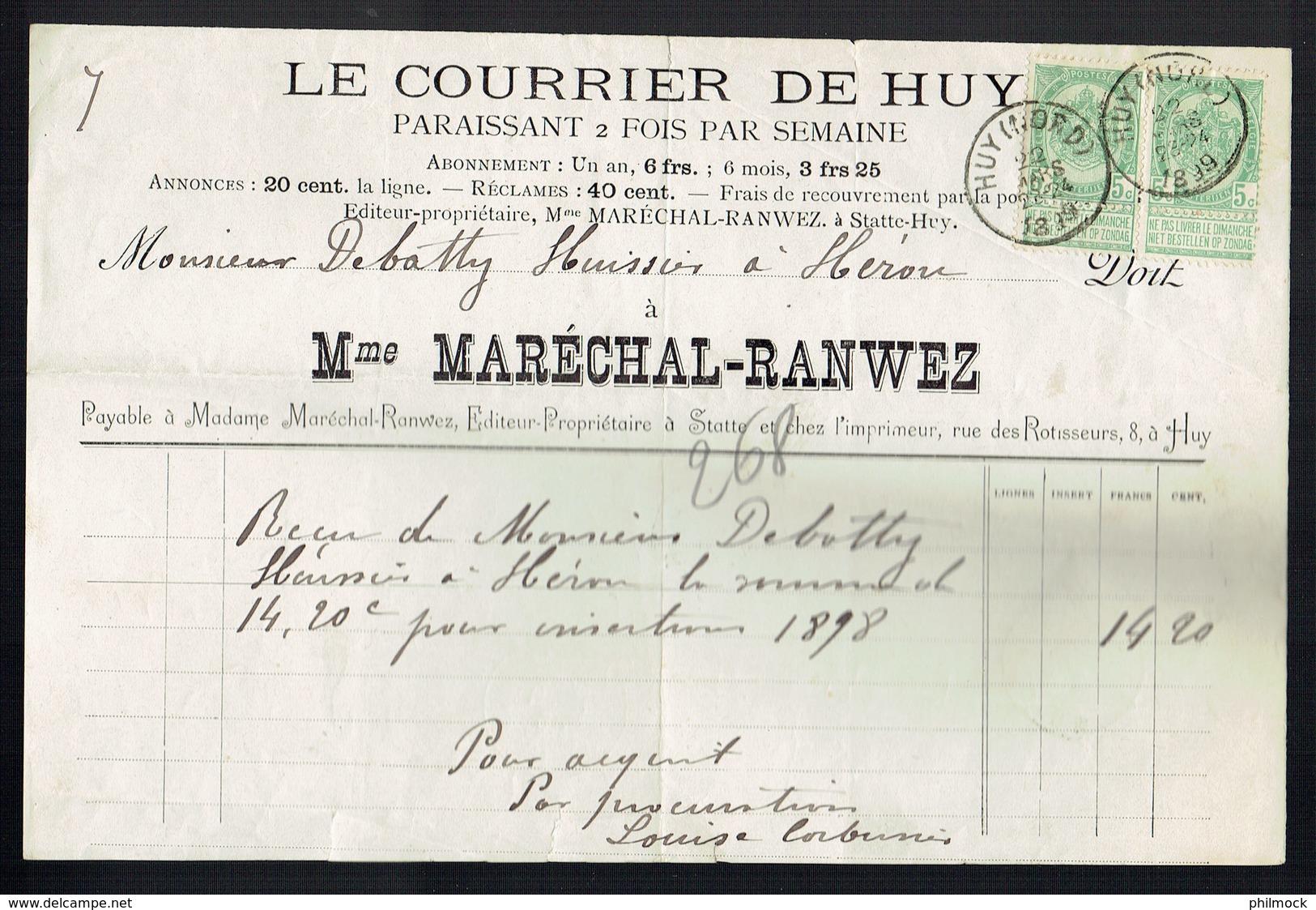M-Facture Le Courrier De Huy - Obli Huy (Nord) Le 22-Mars-1899 Par Burdinne Vers Héron Sur 56x2 Avec Bandelettes - Printing & Stationeries