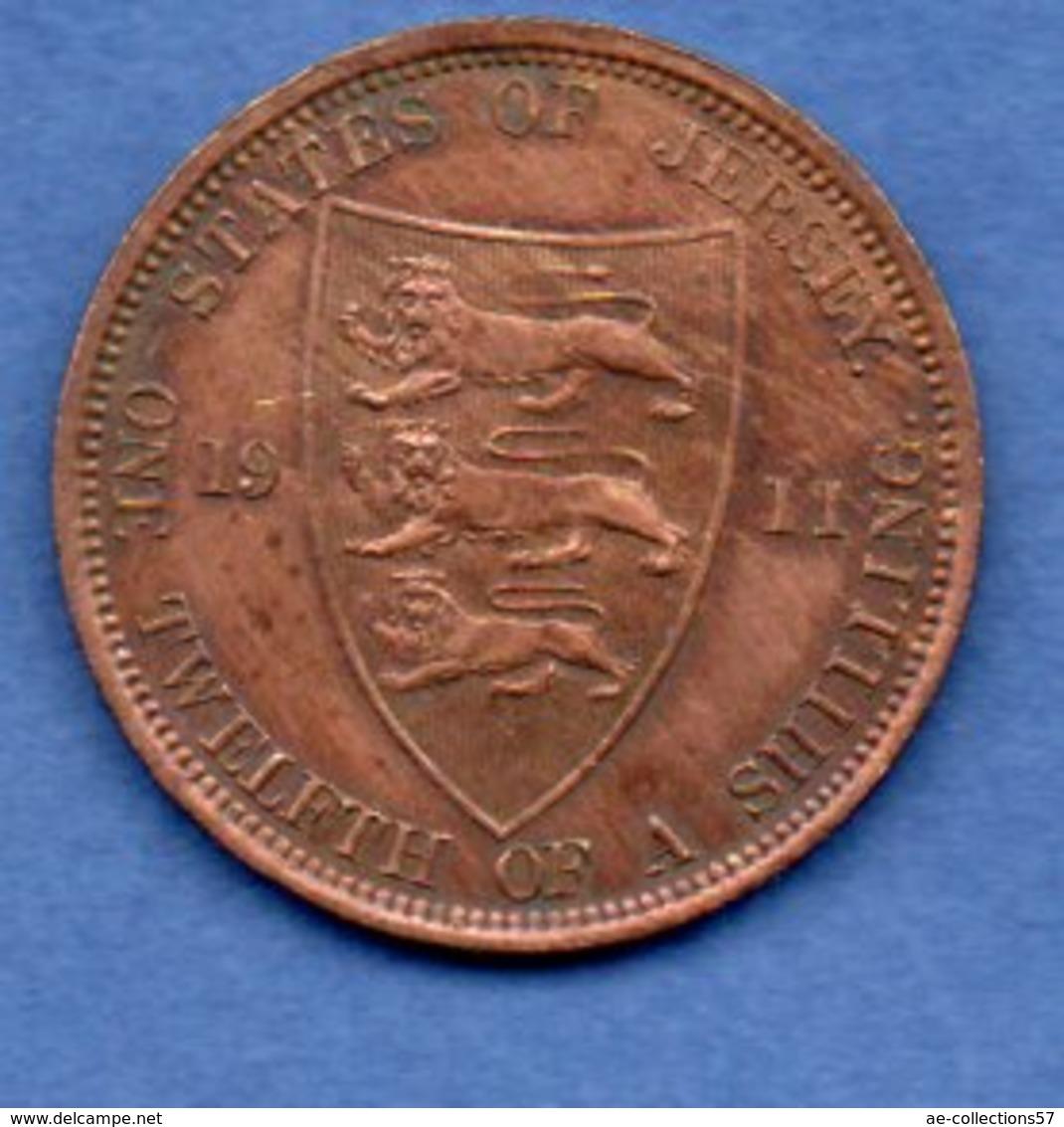 Jersey - 1/12 Shilling 1911  -  Km #    -état  TB+ - Jersey