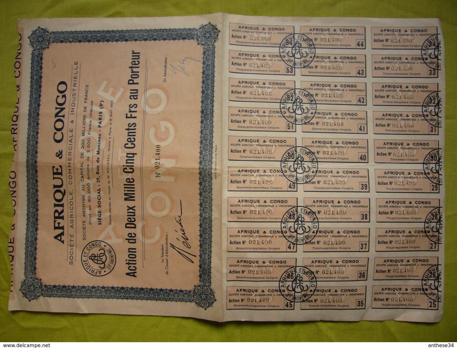 Action 1907 Afrique & Congo Sté Agricole, Commerciale ... 2500 Francs Au Porteur - Afrique