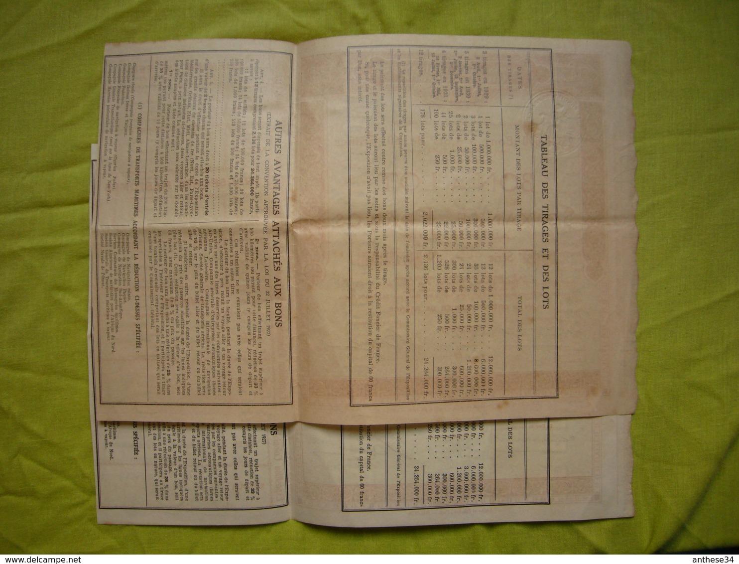 2 Bon à Lot Exposition Coloniale Internationale Paris 1931 60 Francs Au Porteur - Afrique