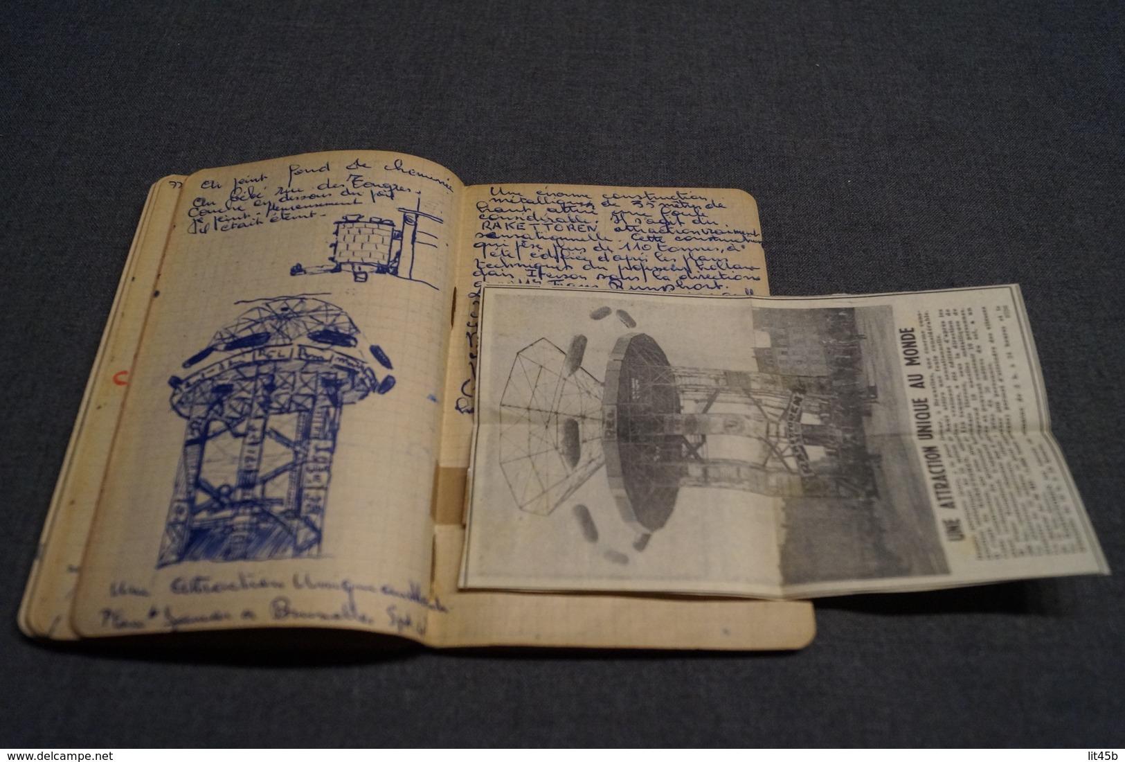 Original Carnet De Route Manuscrit Avec Dessins Originaux,scoutisme Bruxelles 1944, 100 Pages,16,5 Cm./11 Cm. - Scoutisme