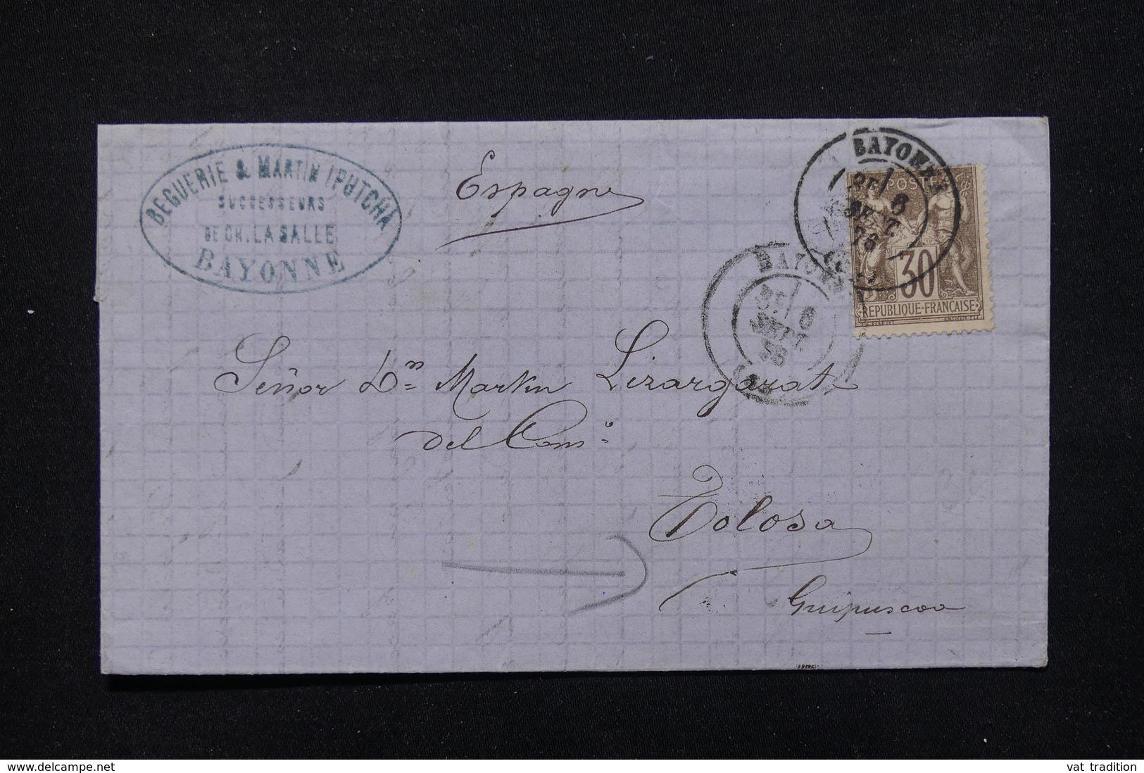 FRANCE - Lettre De Bayonne Pour Tolosa En 1876 - L 21560 - Storia Postale